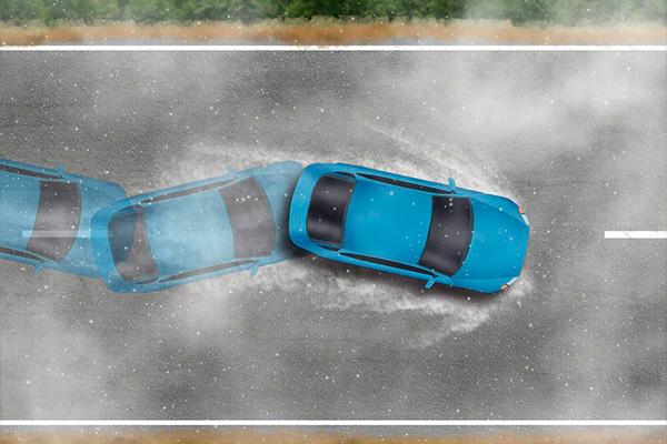 carro em aquaplanagem